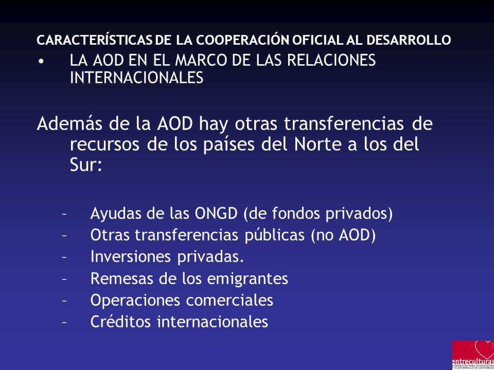 CARACTERÍSTICAS DE LA COOPERACIÓN OFICIAL AL DESARROLLO