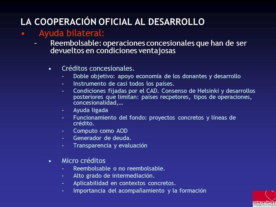 LA COOPERACIÓN OFICIAL AL DESARROLLO Ayuda bilateral: