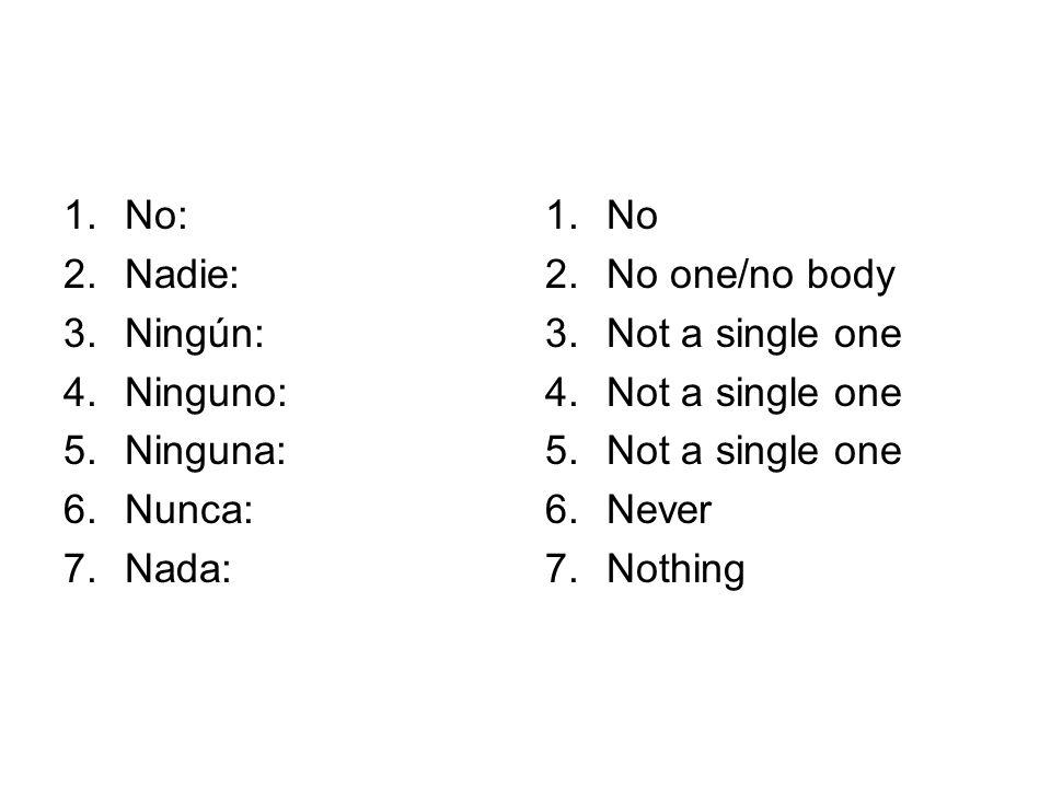 No: Nadie: Ningún: Ninguno: Ninguna: Nunca: Nada: No No one/no body Not a single one Never Nothing
