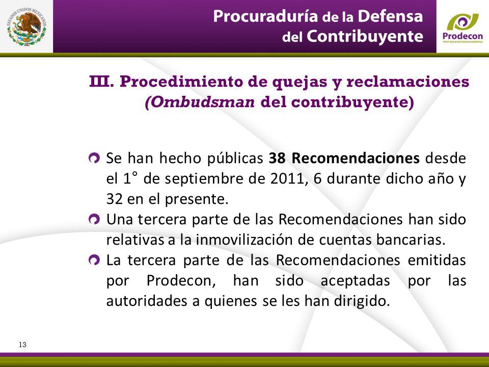 III. Procedimiento de quejas y reclamaciones (Ombudsman del contribuyente)