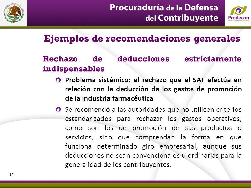 Ejemplos de recomendaciones generales
