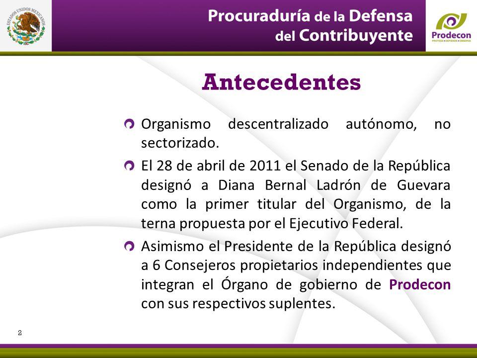 Antecedentes Organismo descentralizado autónomo, no sectorizado.