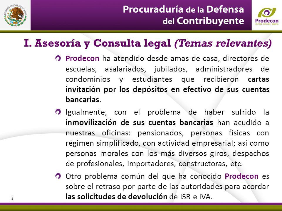 I. Asesoría y Consulta legal (Temas relevantes)