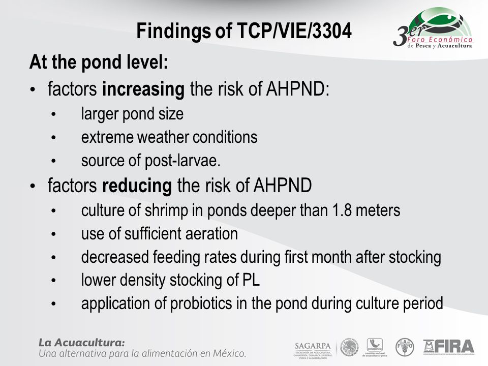 Findings of TCP/VIE/3304 At the pond level: