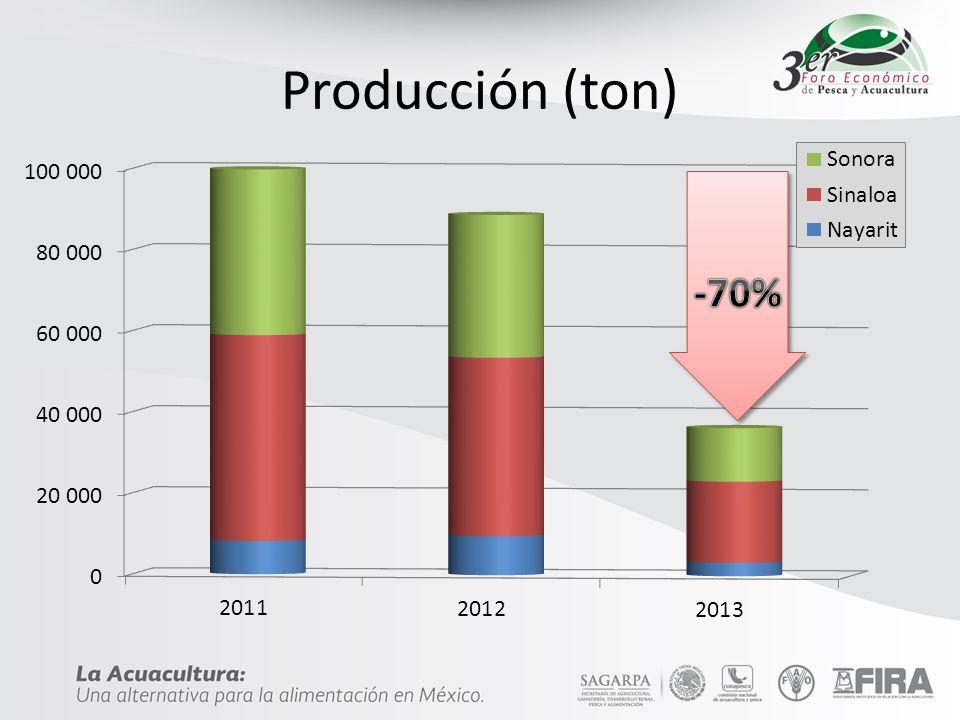 Producción (ton) -70%