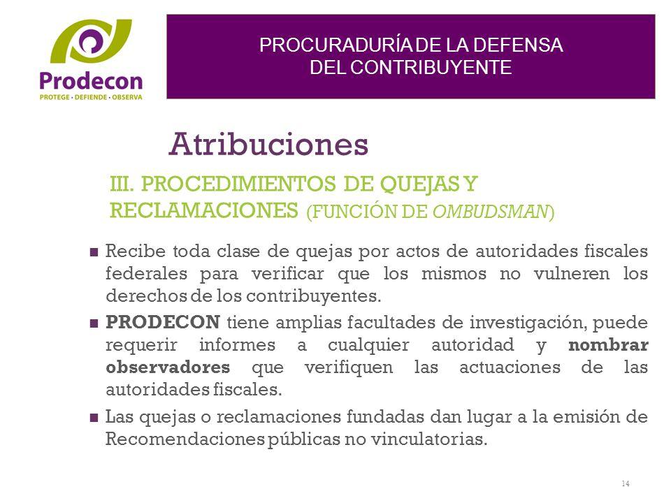 Atribuciones III. PROCEDIMIENTOS DE QUEJAS Y RECLAMACIONES (FUNCIÓN DE OMBUDSMAN)