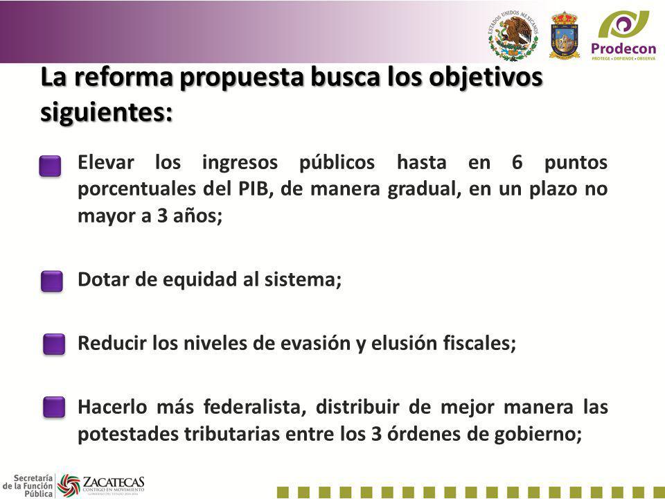 La reforma propuesta busca los objetivos siguientes: