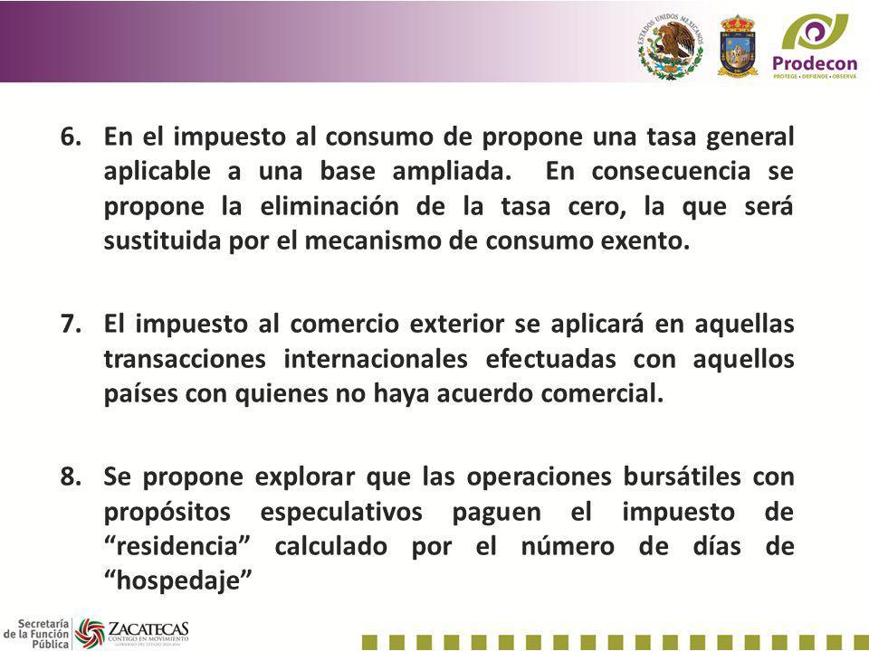 En el impuesto al consumo de propone una tasa general aplicable a una base ampliada. En consecuencia se propone la eliminación de la tasa cero, la que será sustituida por el mecanismo de consumo exento.