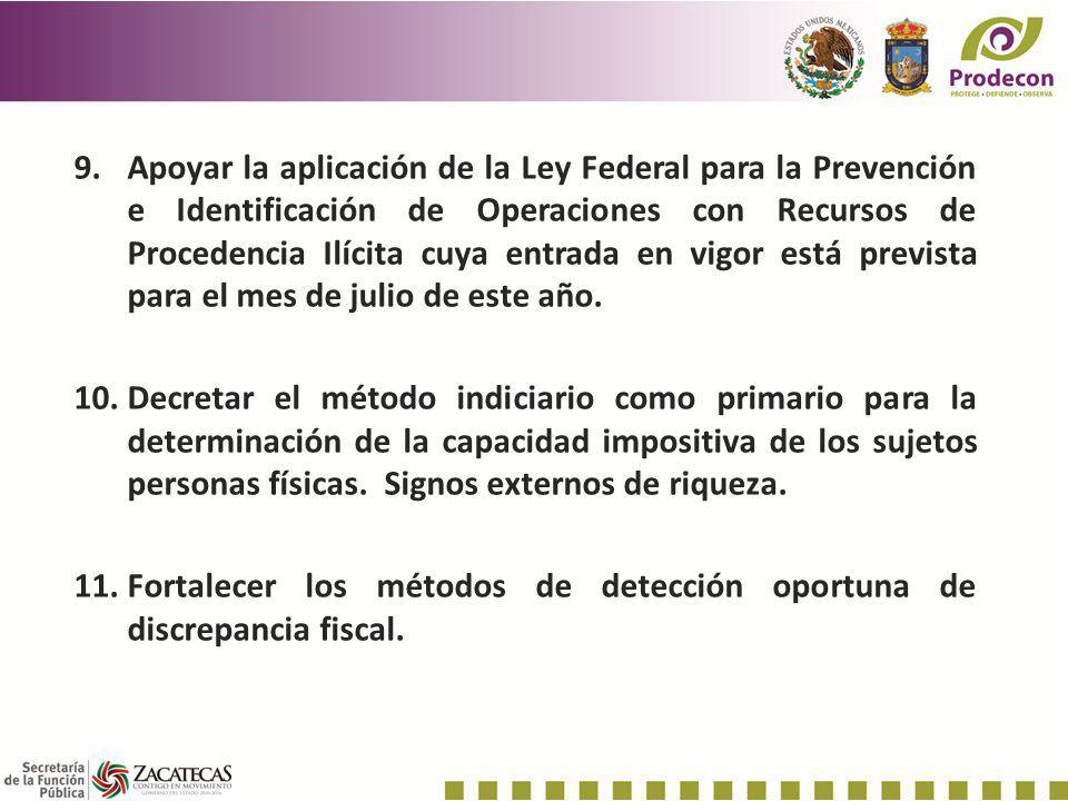 Apoyar la aplicación de la Ley Federal para la Prevención e Identificación de Operaciones con Recursos de Procedencia Ilícita cuya entrada en vigor está prevista para el mes de julio de este año.