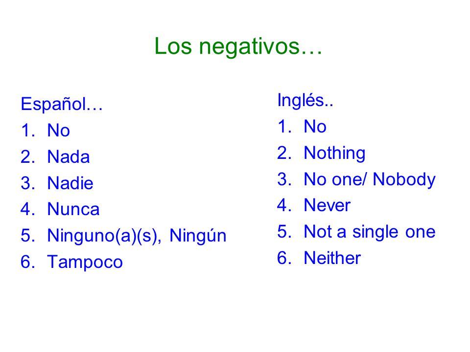 Los negativos… Inglés.. Español… No No Nothing Nada No one/ Nobody