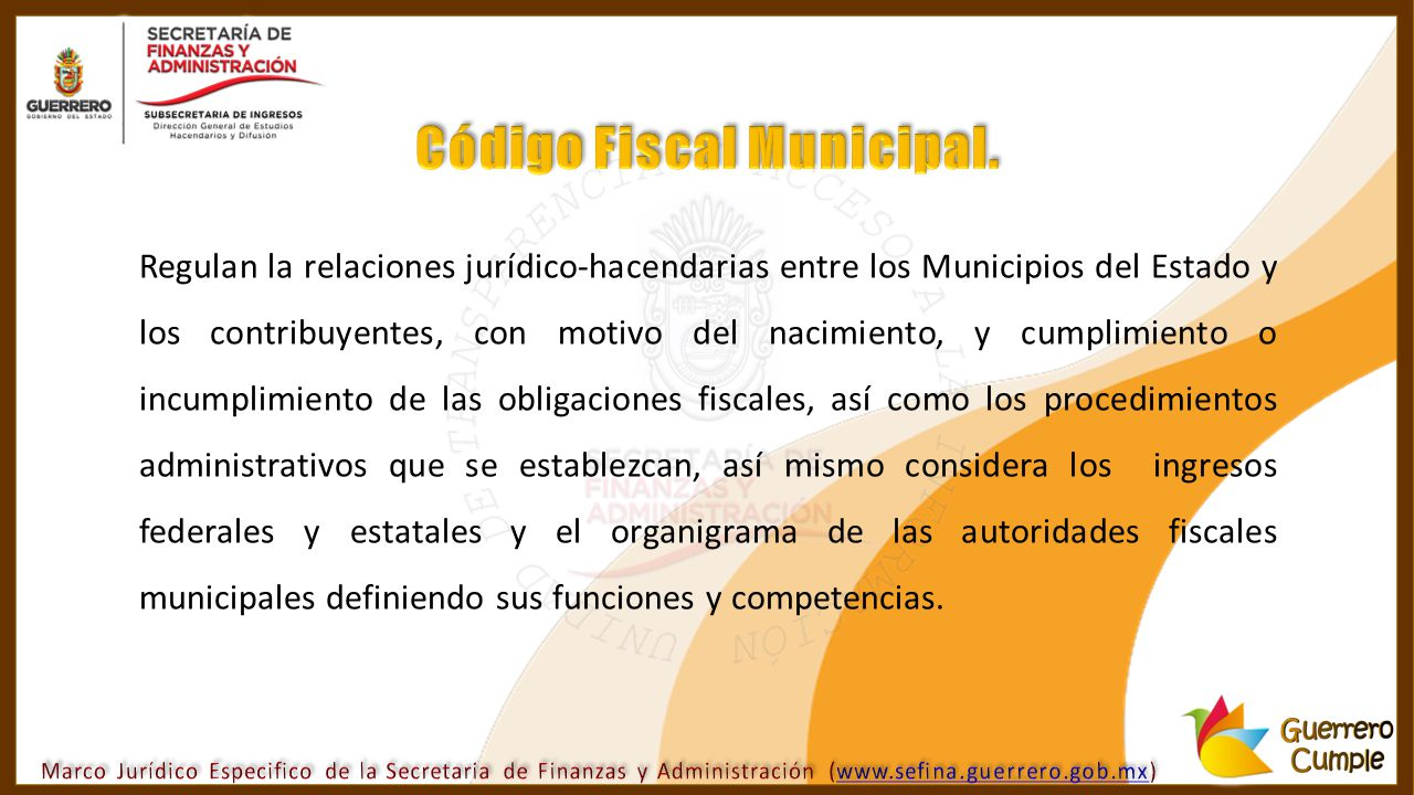 Código Fiscal Municipal.