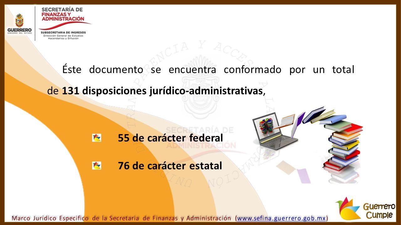 Éste documento se encuentra conformado por un total de 131 disposiciones jurídico-administrativas,