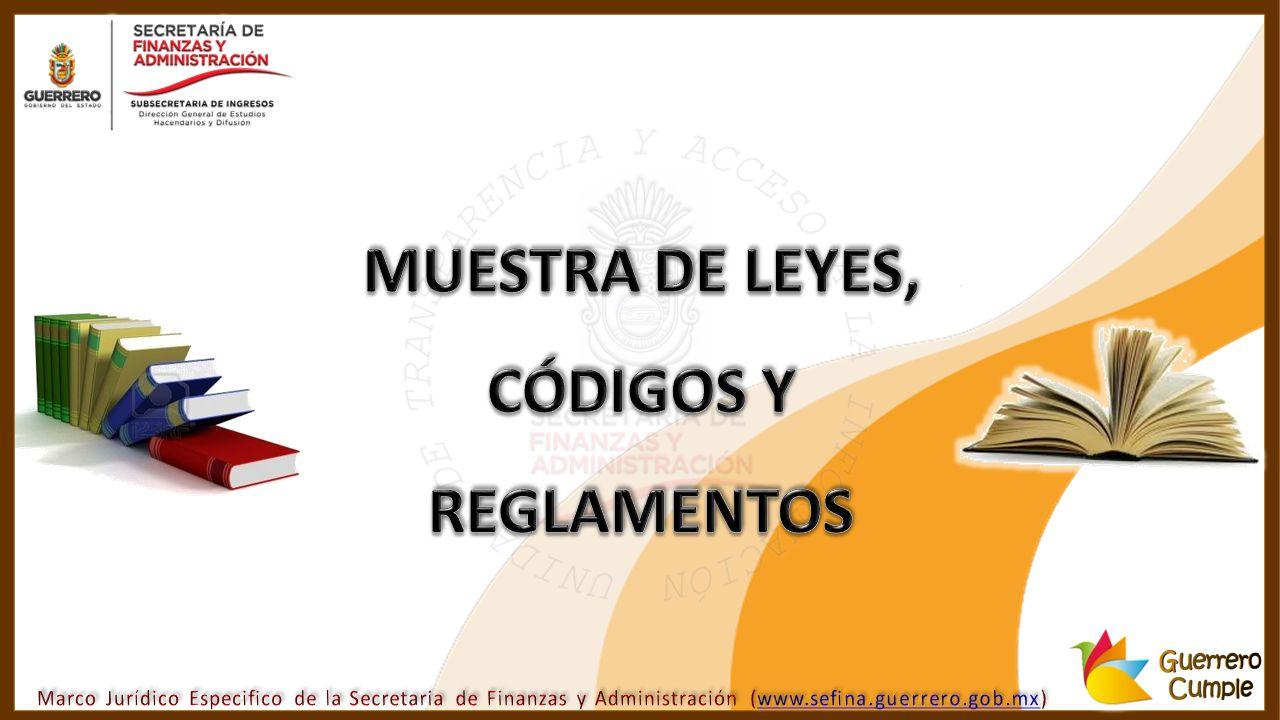 MUESTRA DE LEYES, CÓDIGOS Y REGLAMENTOS