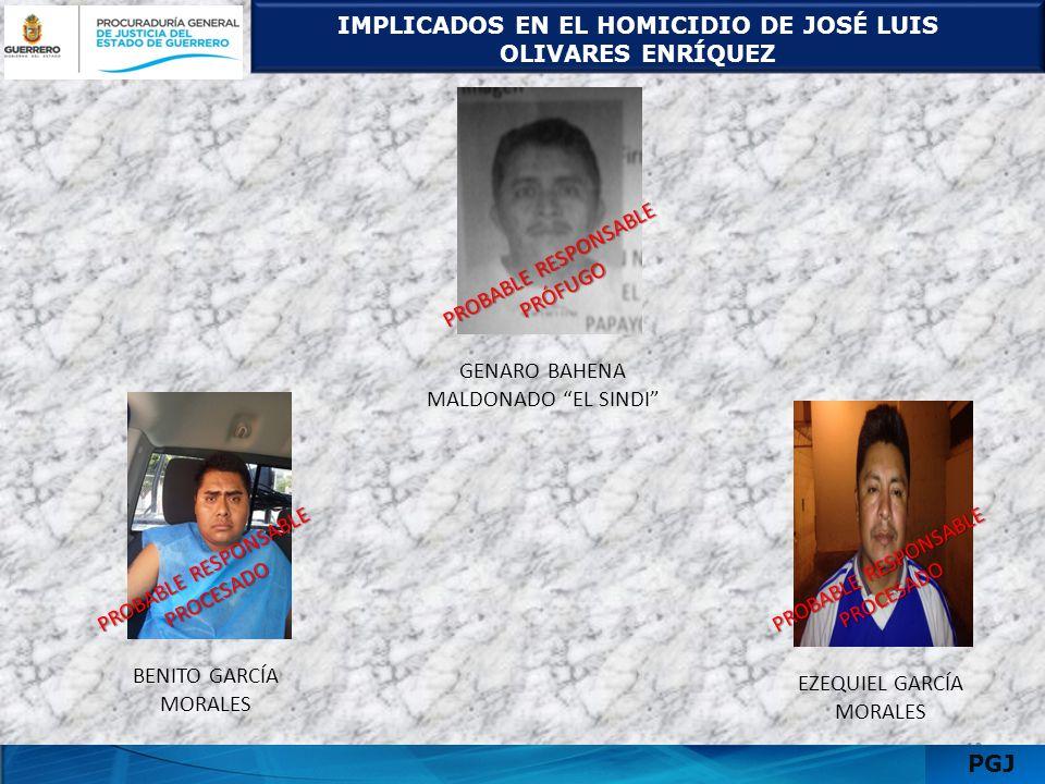 IMPLICADOS EN EL HOMICIDIO DE JOSÉ LUIS OLIVARES ENRÍQUEZ