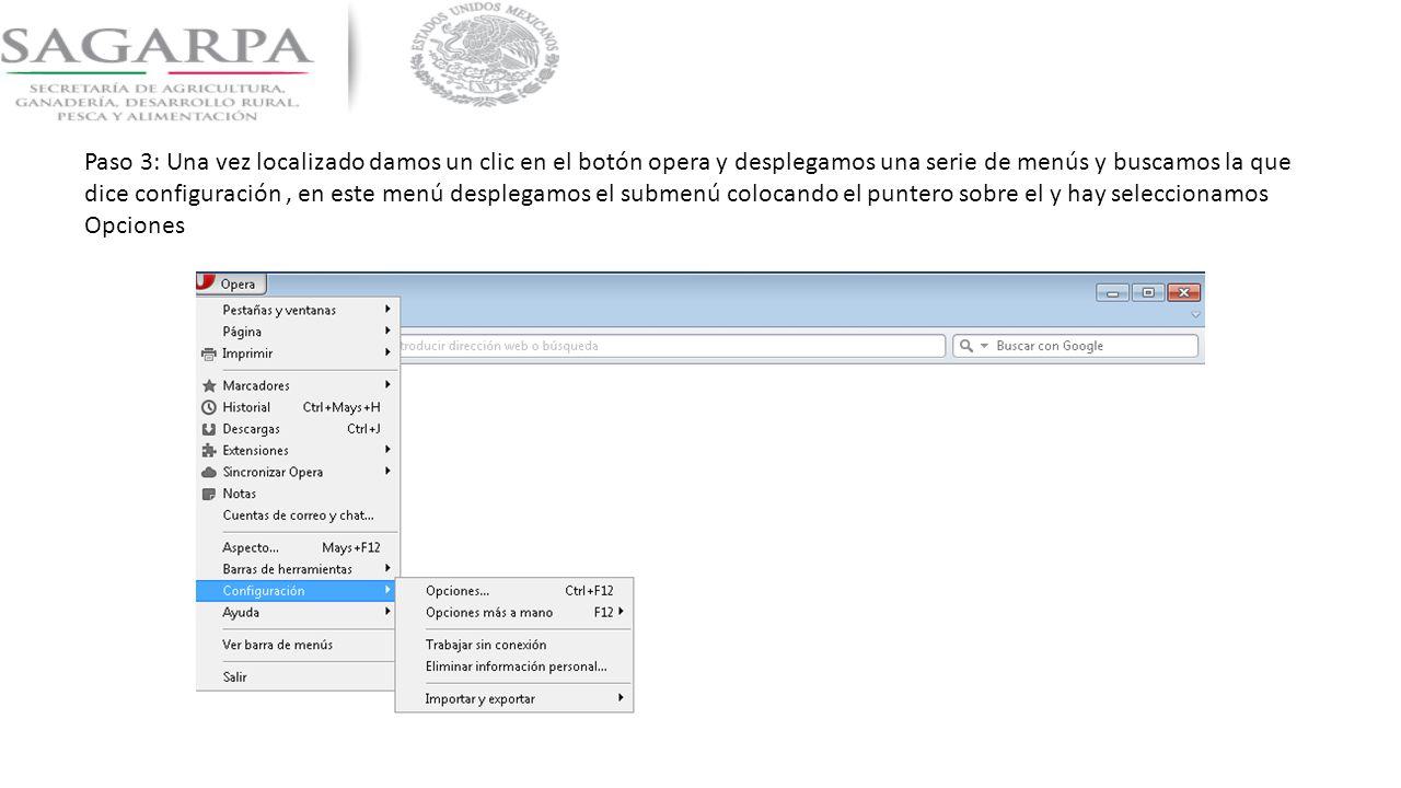 Paso 3: Una vez localizado damos un clic en el botón opera y desplegamos una serie de menús y buscamos la que dice configuración , en este menú desplegamos el submenú colocando el puntero sobre el y hay seleccionamos Opciones