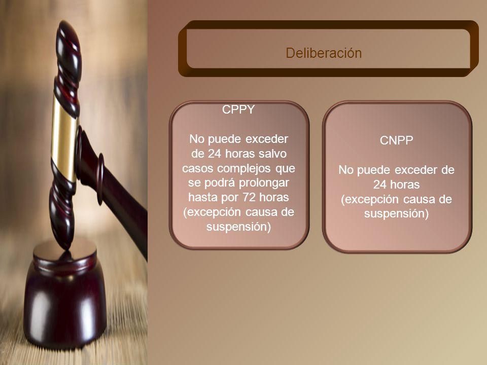 Deliberación CPPY. No puede exceder de 24 horas salvo casos complejos que se podrá prolongar hasta por 72 horas.