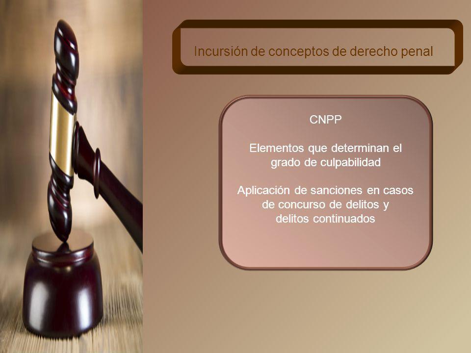 Incursión de conceptos de derecho penal