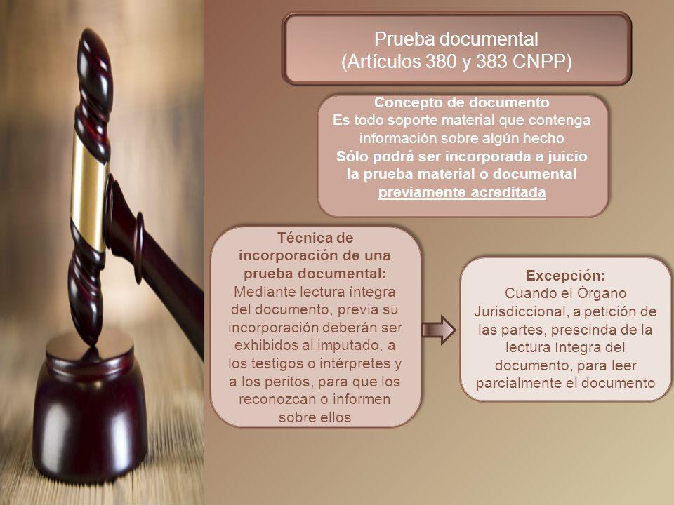 Prueba documental (Artículos 380 y 383 CNPP) Concepto de documento