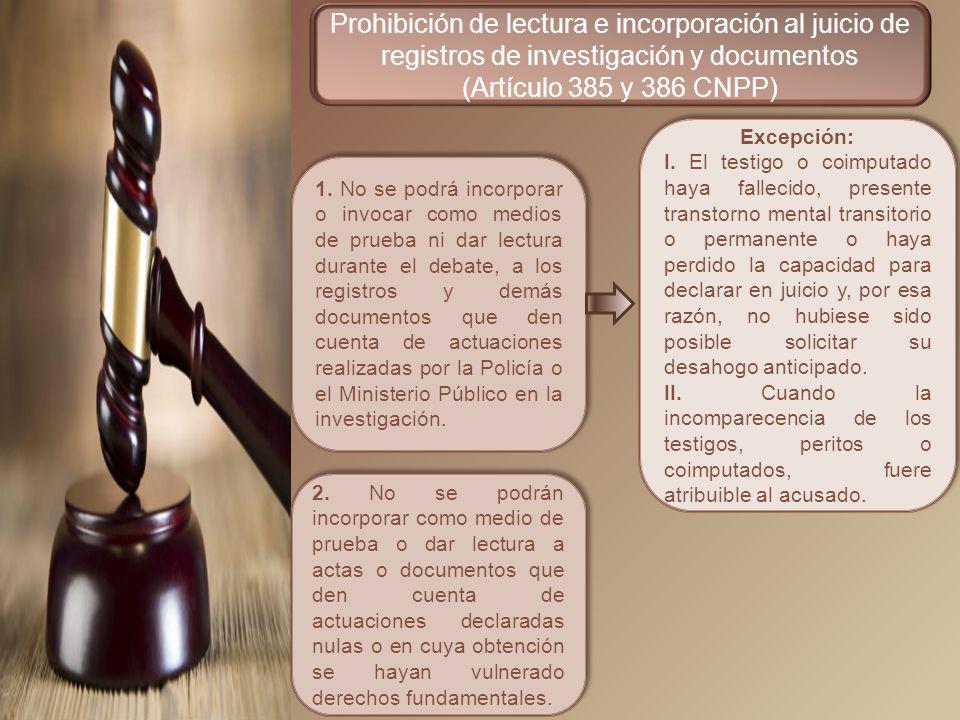 Prohibición de lectura e incorporación al juicio de registros de investigación y documentos
