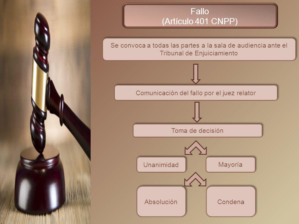 Comunicación del fallo por el juez relator