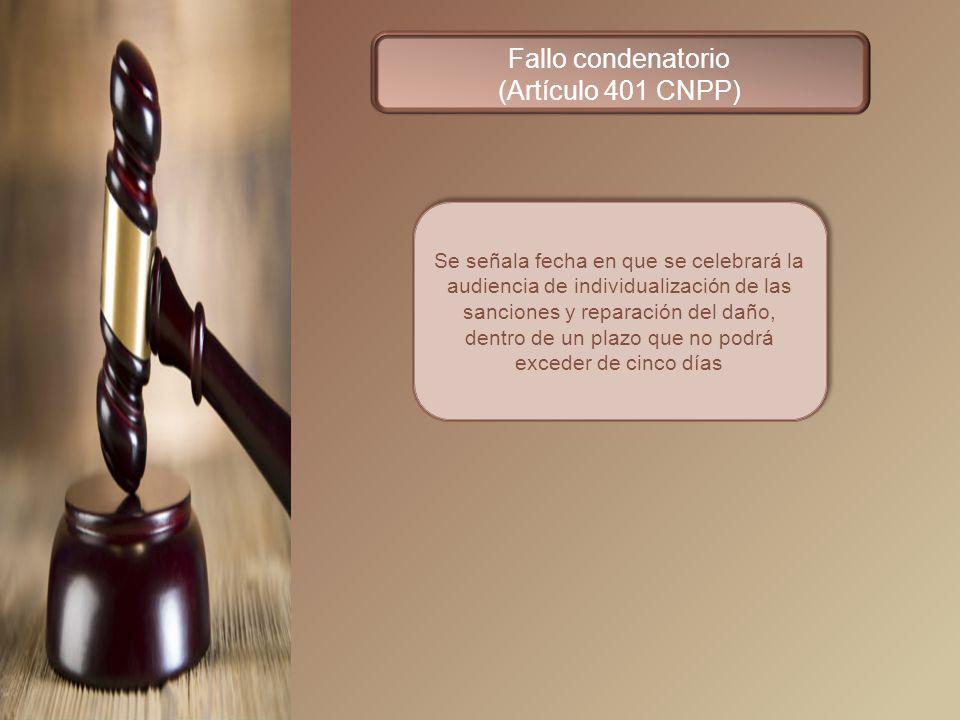 Fallo condenatorio (Artículo 401 CNPP)
