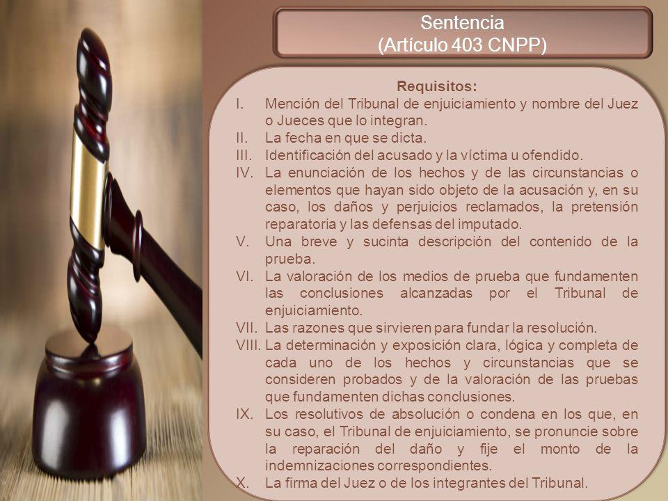 Sentencia (Artículo 403 CNPP) Requisitos: