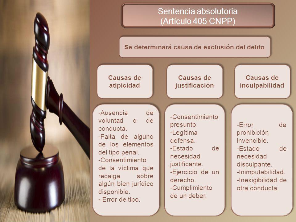 Sentencia absolutoria (Artículo 405 CNPP)