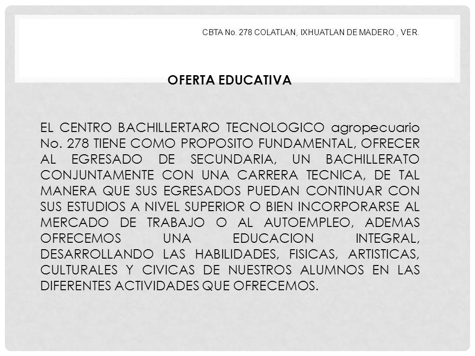 CBTA No. 278 COLATLAN, IXHUATLAN DE MADERO , VER.