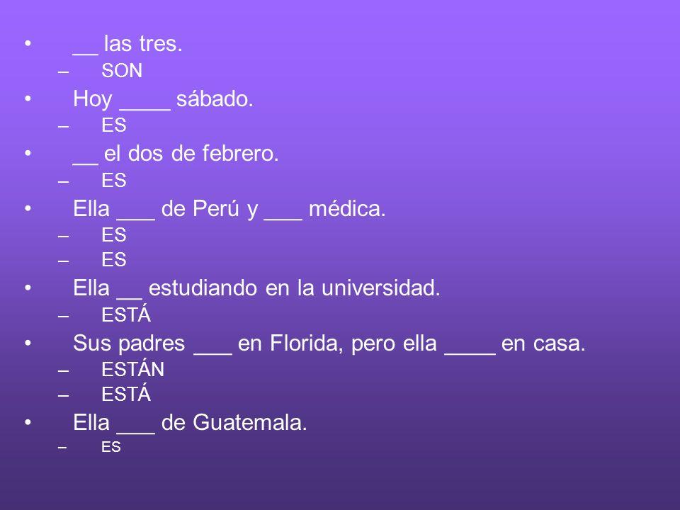 Ella ___ de Perú y ___ médica.