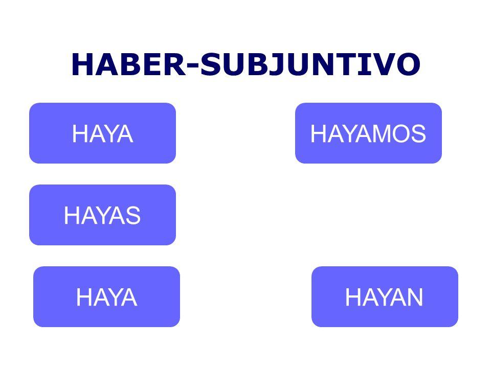 HABER-SUBJUNTIVO HAYA HAYAMOS HAYAS HAYA HAYAN