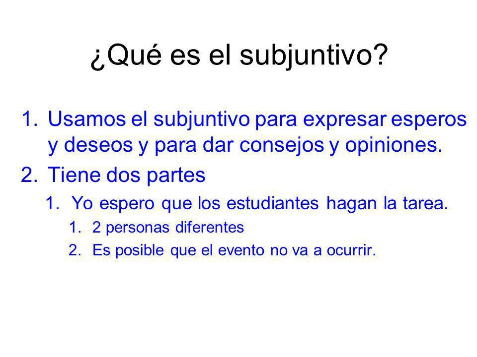 ¿Qué es el subjuntivo Usamos el subjuntivo para expresar esperos y deseos y para dar consejos y opiniones.