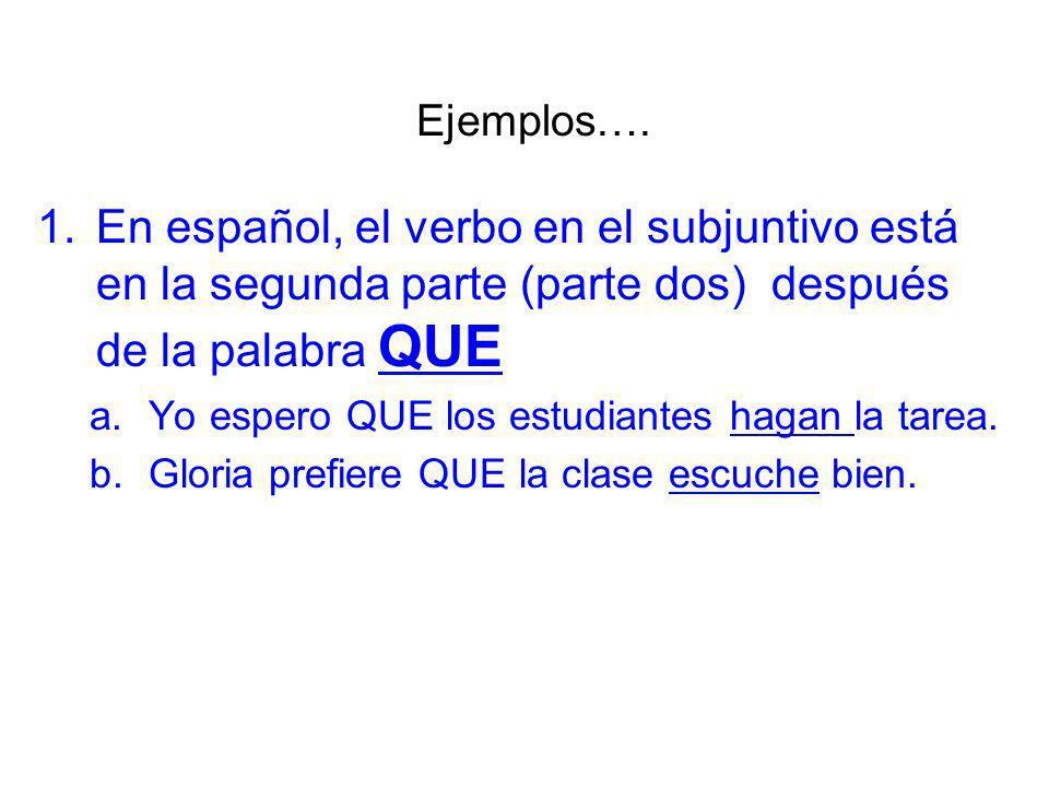 Ejemplos…. En español, el verbo en el subjuntivo está en la segunda parte (parte dos) después de la palabra QUE.