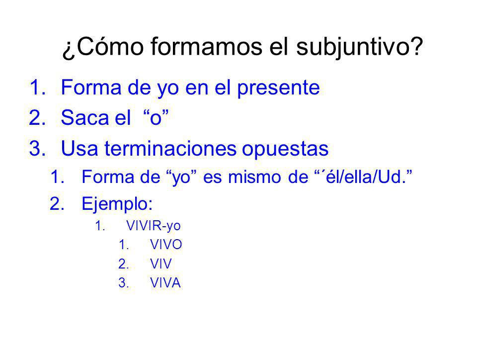 ¿Cómo formamos el subjuntivo