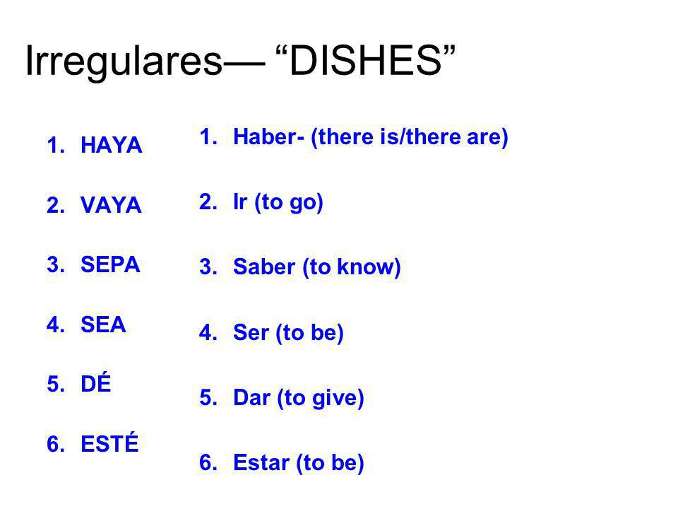 Irregulares— DISHES