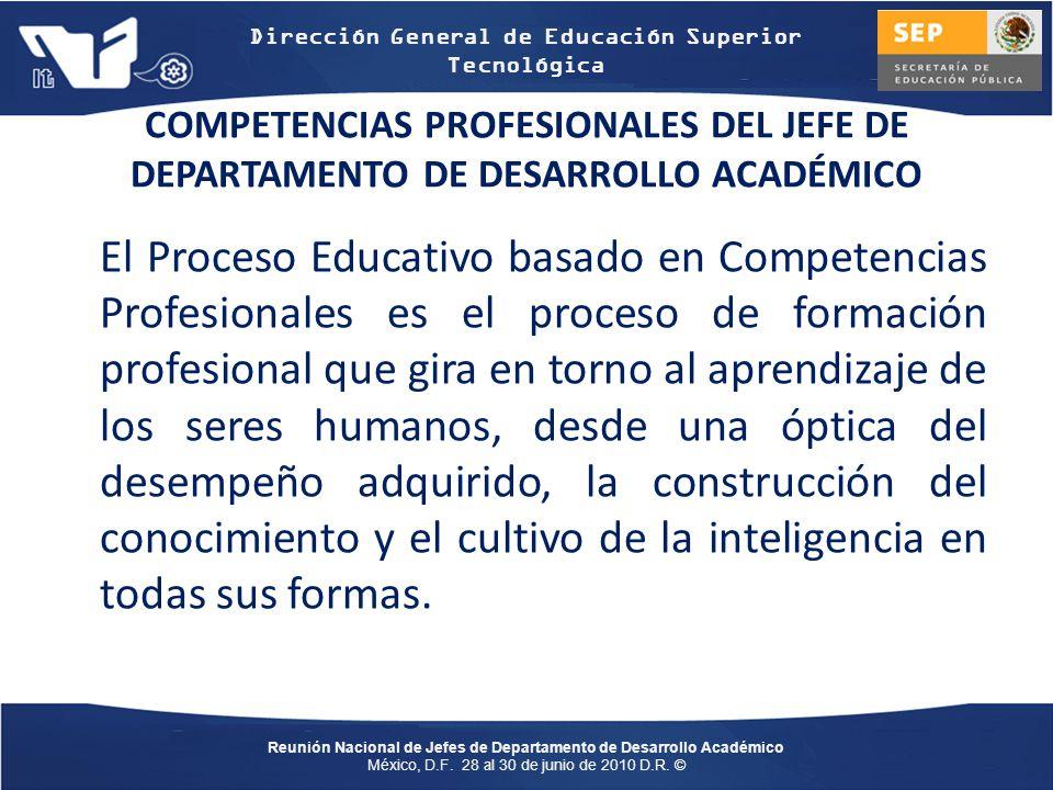 COMPETENCIAS PROFESIONALES DEL JEFE DE DEPARTAMENTO DE DESARROLLO ACADÉMICO