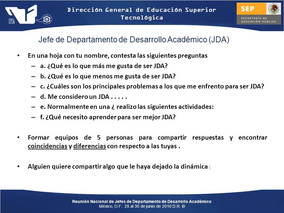 Jefe de Departamento de Desarrollo Académico (JDA)