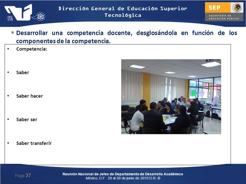 Desarrollar una competencia docente, desglosándola en función de los componentes de la competencia.