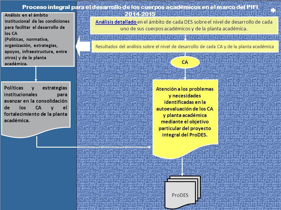 Proceso integral para el desarrollo de los cuerpos académicos en el marco del PIFI 2014-2015