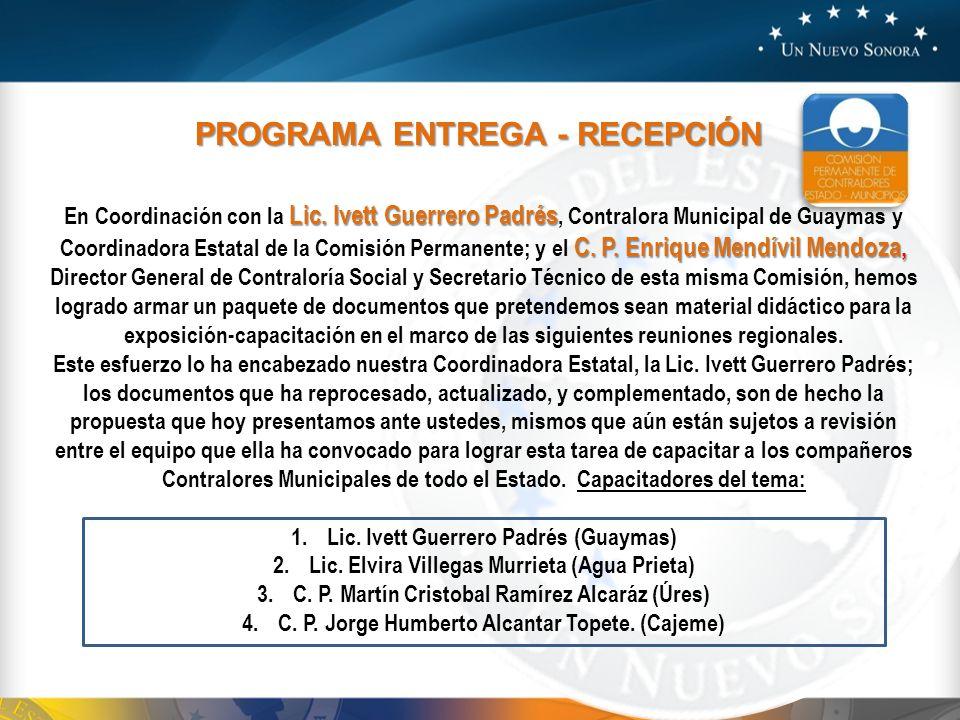 PROGRAMA ENTREGA - RECEPCIÓN