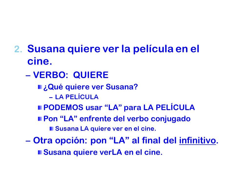 Susana quiere ver la película en el cine.