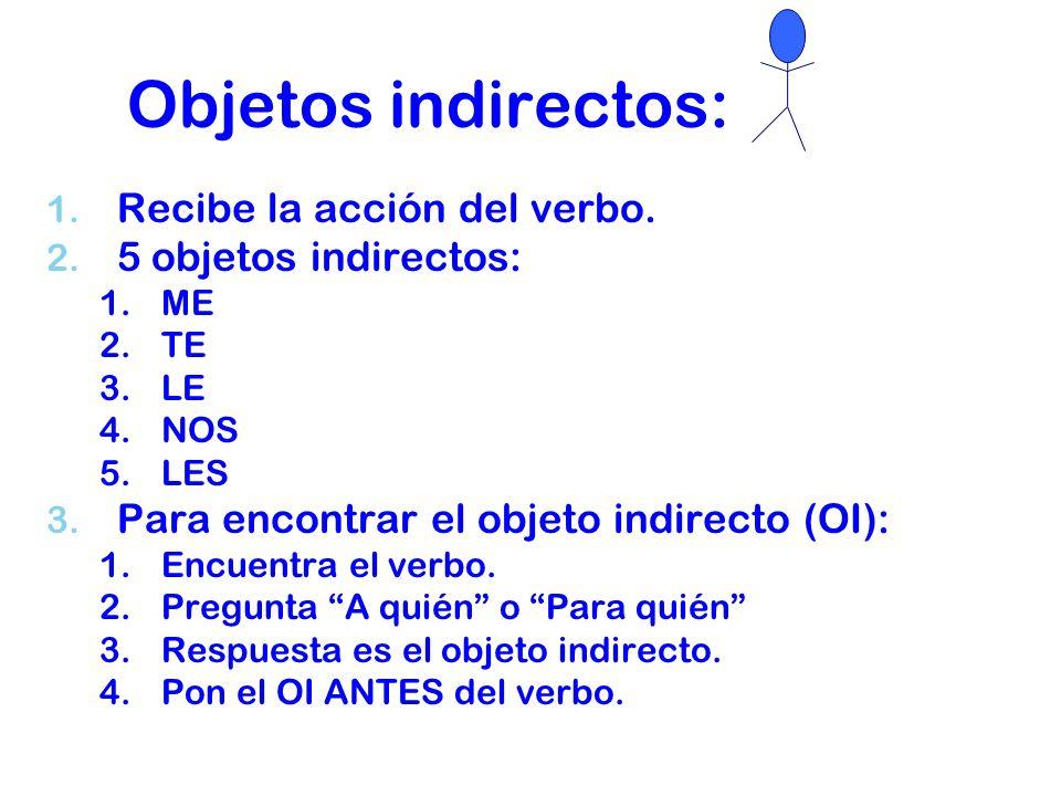 Objetos indirectos: Recibe la acción del verbo. 5 objetos indirectos: