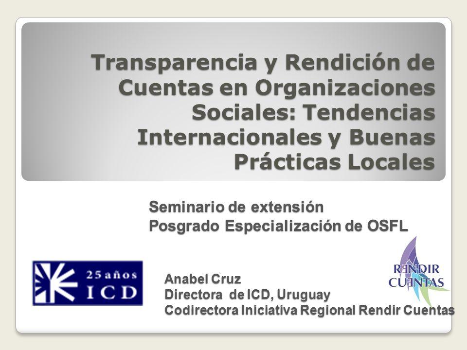 Transparencia y Rendición de Cuentas en Organizaciones Sociales: Tendencias Internacionales y Buenas Prácticas Locales