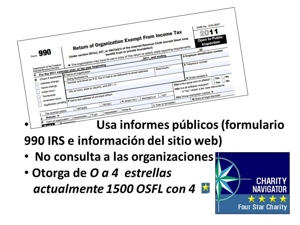 Usa informes públicos (formulario 990 IRS e información del sitio web)