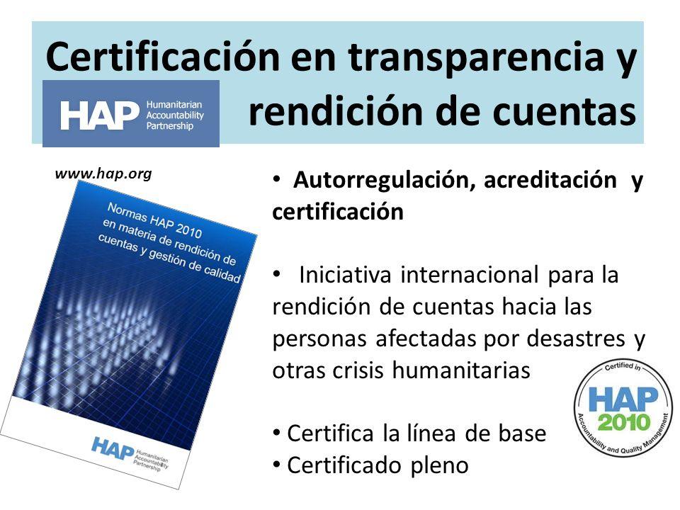 Certificación en transparencia y rendición de cuentas