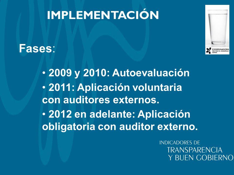 IMPLEMENTACIÓN Fases: 2009 y 2010: Autoevaluación