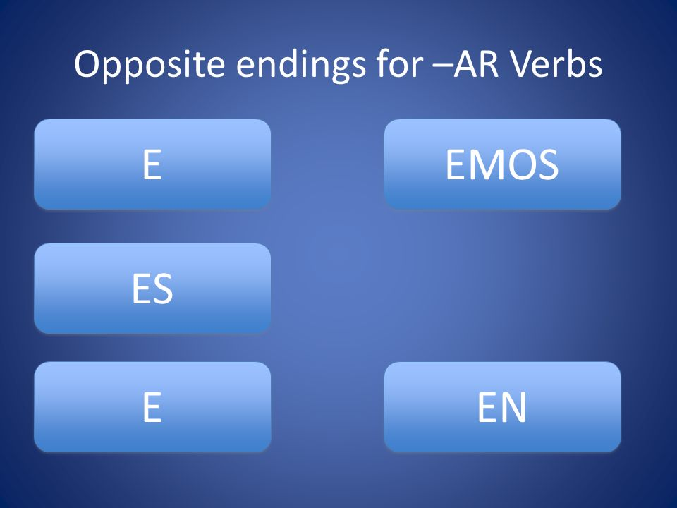 Opposite endings for –AR Verbs