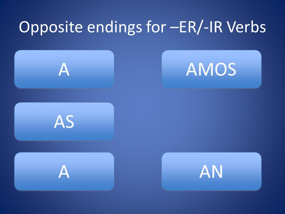 Opposite endings for –ER/-IR Verbs