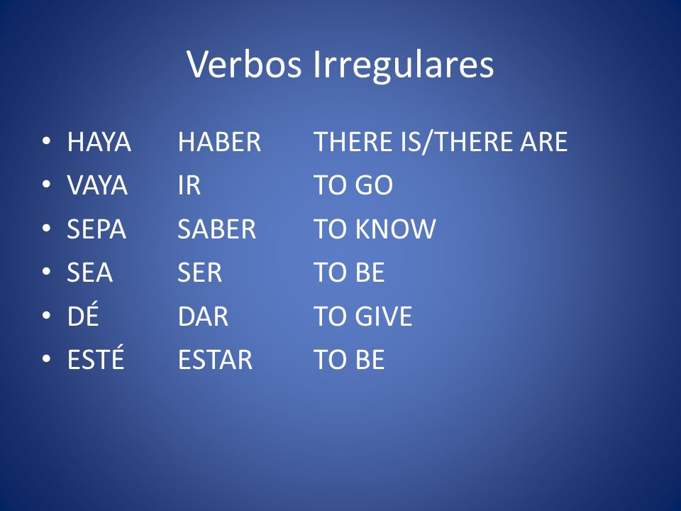 Verbos Irregulares HAYA HABER THERE IS/THERE ARE VAYA IR TO GO