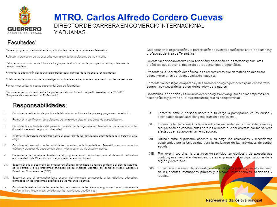 MTRO. Carlos Alfredo Cordero Cuevas