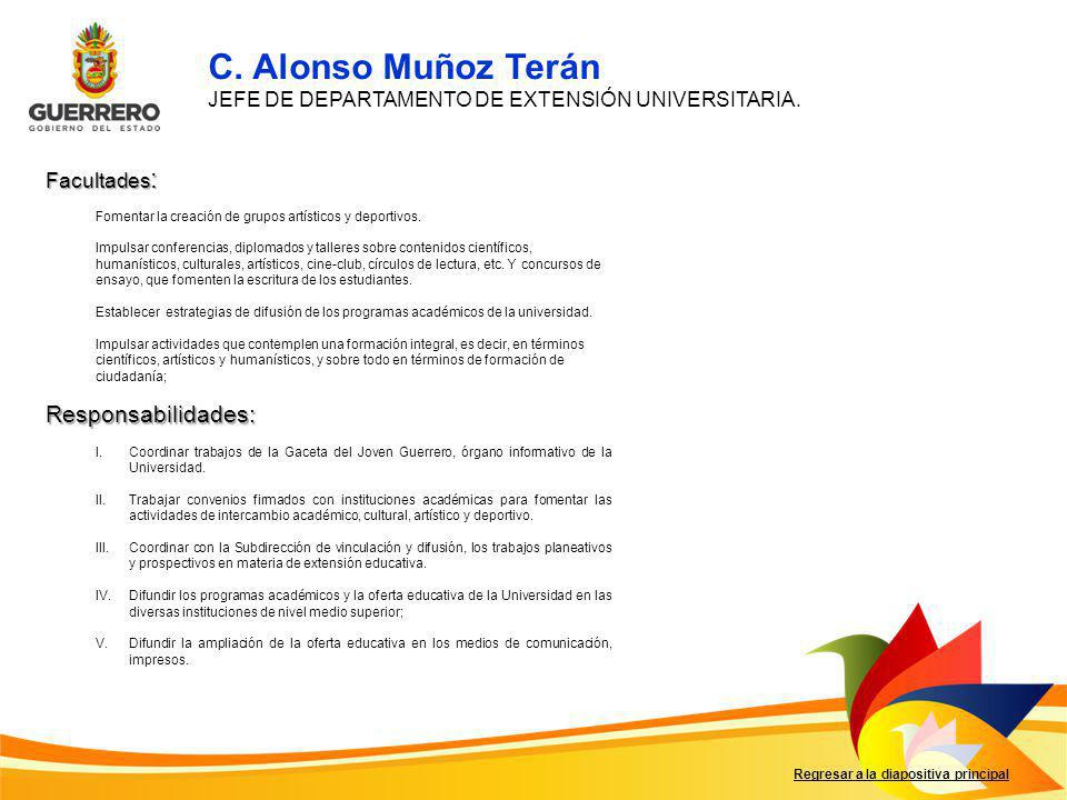 C. Alonso Muñoz Terán Responsabilidades: